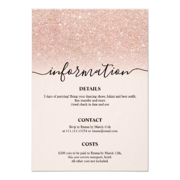 Small Rose Gold Glitter Itinerary 21st Birthday Weekend Invitation Back View