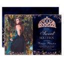 rose gold glitter navy blue photo tiara sweet 16 invitation