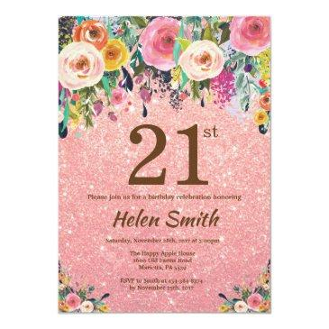 Small Rose Gold Glitter Pink Floral 21st Birthday Invitation Front View