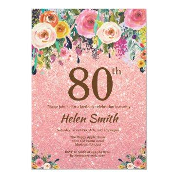 rose gold glitter pink floral 80th birthday invitations