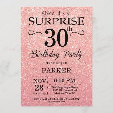 rose gold pink glitter surprise 30th birthday invitation