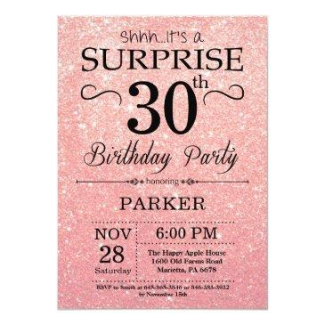 rose gold pink glitter surprise 30th birthday invitations