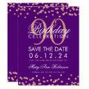 rose gold purple 90th birthday save date confetti invitation