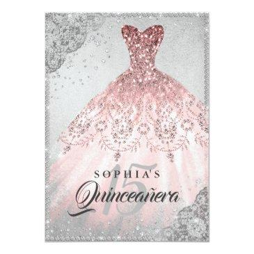 Small Rose Gold Silver Diamond Sparkle Gown Quinceanera Invitations Front View