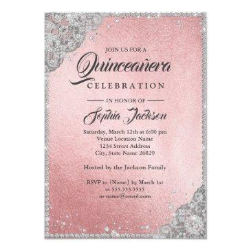 Small Rose Gold Silver Diamond Sparkle Gown Quinceanera Invitations Back View