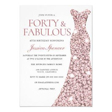 rose gold sparkle dress 40th birthday party invite