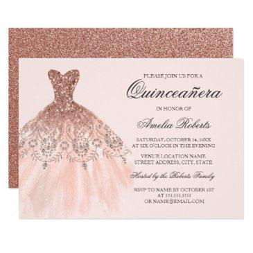 rose gold sparkle dress quinceanera invitation