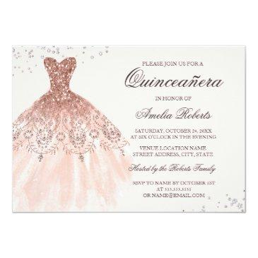 Small Rose Gold Sparkle Dress Quinceanera Invitation Front View