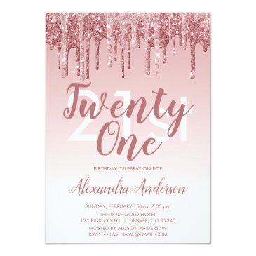 Small Rose Gold Sparkle Glitter 21st Birthday Party Invitation Front View