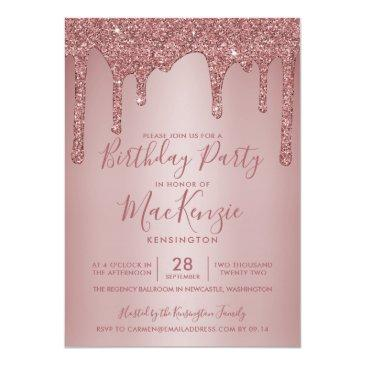 Small Rose Gold Sparkle Glitter Drips Any Year Birthday Invitation Front View