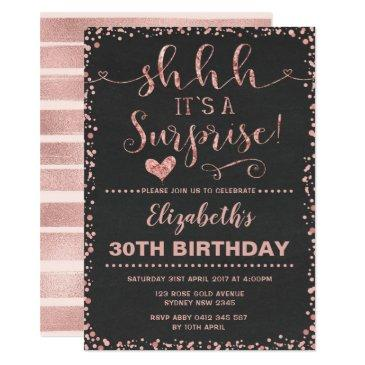 rose gold surprise birthday party women glitter invitations