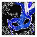 royal blue and black masquerade party invitations