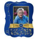 royal blue and gold 65th photo birthday invitations