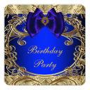 royal blue and gold birthday party invitation