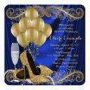 royal blue and gold birthday party satin glam invitation