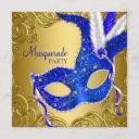 royal blue and gold masquerade party invitation