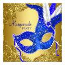 royal blue and gold masquerade party invitations