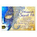 royal blue and gold sweet 16 masquerade party invitation