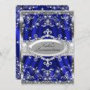 royal blue and silver jewel damask quinceanera invitation
