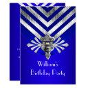 royal blue birthday party silver stripe invitation