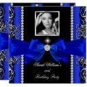 royal blue bow birthday party black silver photo 2 invitations