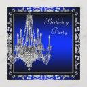 royal blue damask chandelier birthday party invitation