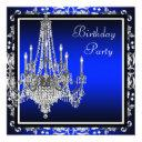 royal blue damask chandelier birthday party invitation