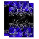 royal blue diamond butterfly sweet sixteen invite