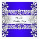royal blue elegant silver floral birthday party invitations