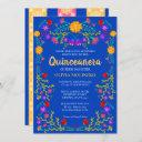royal blue fiesta party mexican quinceanera invitation