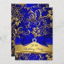 royal blue gold damask 50th birthday party invitation