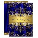 royal blue & gold damask elegant birthday party invitation