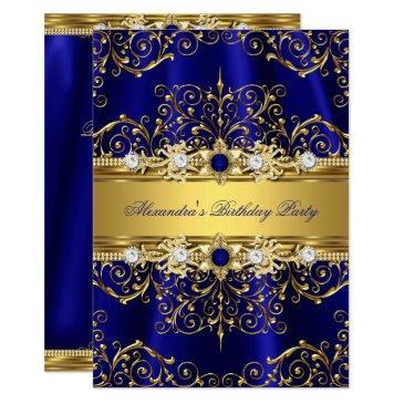 royal blue & gold damask elegant birthday party invitations