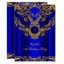 royal blue gold elegant elite birthday party 2 invitation