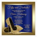 royal blue gold high heels birthday party invitation