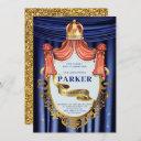 royal blue gold prince birthday invitation