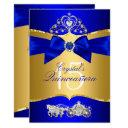 royal blue gold tiara pearl bow quinceanera invitations