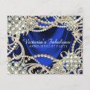royal blue ivory pearl birthday party invitation