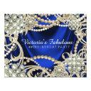 royal blue ivory pearl birthday party invitation