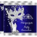 royal blue masquerade quinceanera mask hi heels invitation