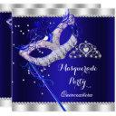 royal blue masquerade quinceanera party mask gems invitation