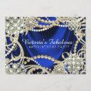 royal blue pearl glam birthday party invitation