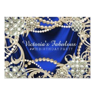 royal blue pearl glam birthday party invitation