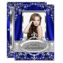 royal blue pearl silk vintage glamour quinceanera invitations