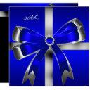 royal blue silver bow 30th jewel birthday party invitations