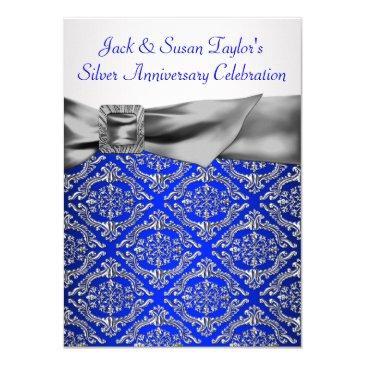 royal blue silver damask silver 25th anniversary invitation