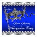 royal blue sweet sixteen masquerade party invitation