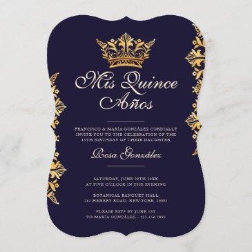 royal gold leaf crown elegant navy quinceañera invitation