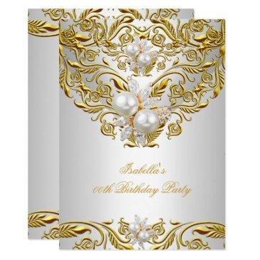 royal gold on white pearl elegant birthday party invitation