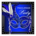 royal navy blue mask masquerade party invitation